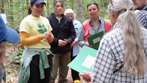 Maine Forest Service forester talking with female forest landowners. Courtesy of Andy Shultz, Maine Forest Service.