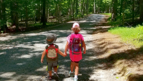 Two children walking in the woods. Photo courtesy of VA State Parks, Flickr.