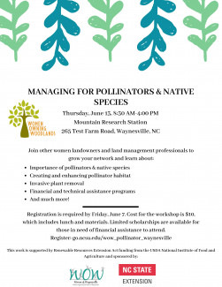 Women's Pollinator Management Workshop Flier