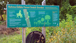 Rahma Edible Forest Snack Garden sign surrounded by food garden. Photo: Catherine Bukowski, VA Tech